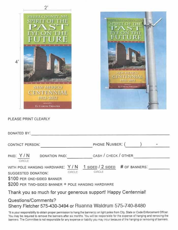 Centennial Banner - order form